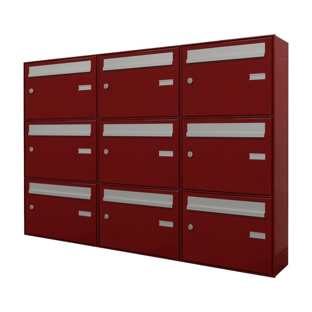cassette postali per esterno 9 posti rosso